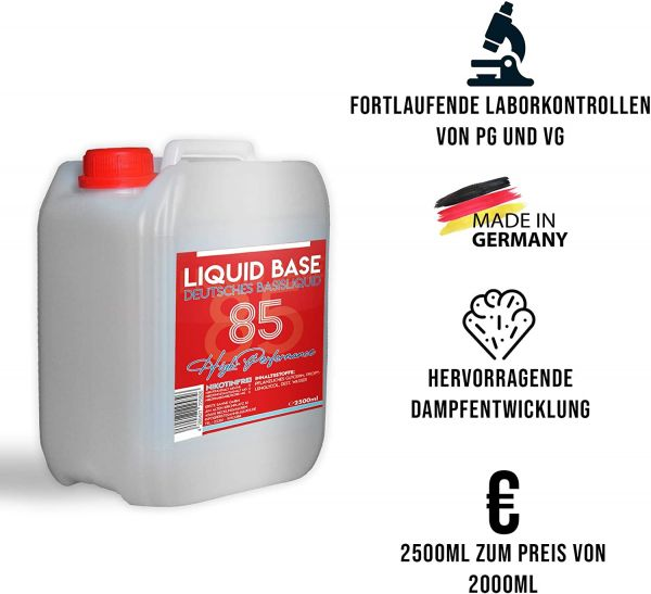 2,5L High Performance Basisliquid 10PG/85VG/5H2O 0mg